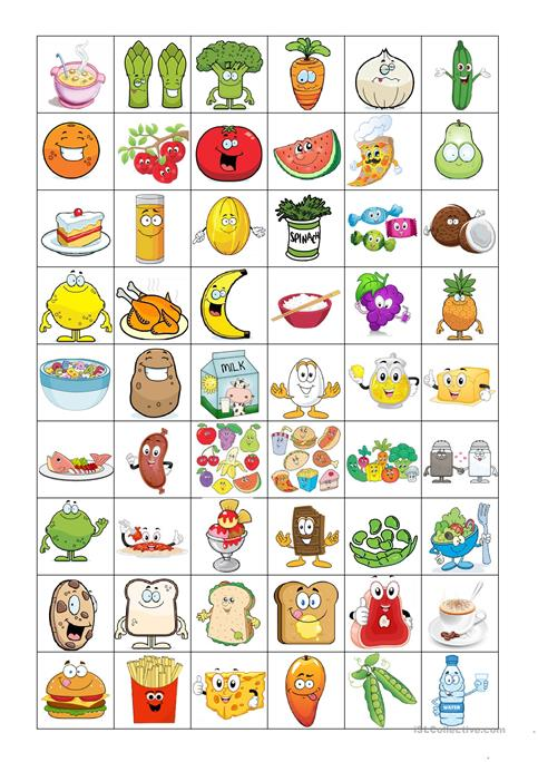 FOOD BINGO CONCENTRATION GAME worksheet - Free ESL printable - count and noncount nouns esl