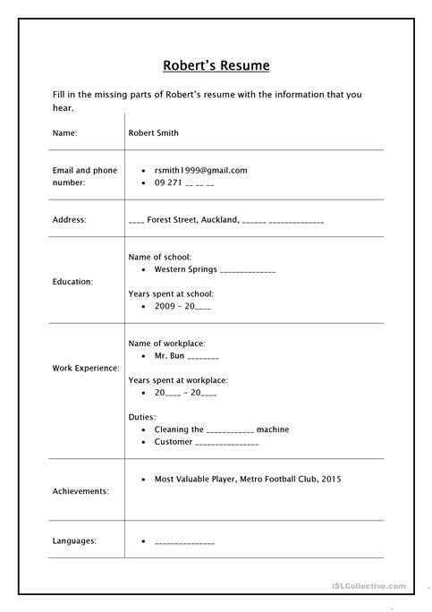 Robert\u0027s Resume - Listening Activity worksheet - Free ESL printable