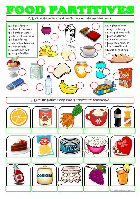 FOOD PARTITIVES - a box of, a bunch of worksheet - Free ESL - count and noncount nouns esl