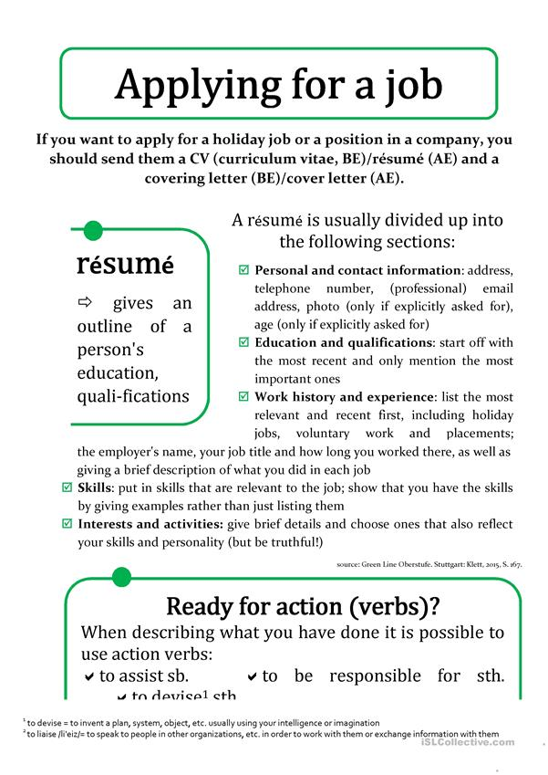 resume and cover letter vocabulary