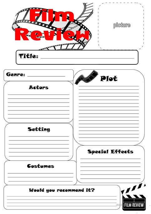 Film Review Worksheet worksheet - Free ESL printable worksheets made