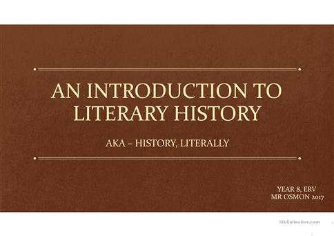 An introduction to literary history and literary movements worksheet
