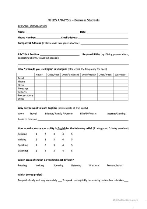 Needs Analysis Template - Business Students worksheet - Free ESL