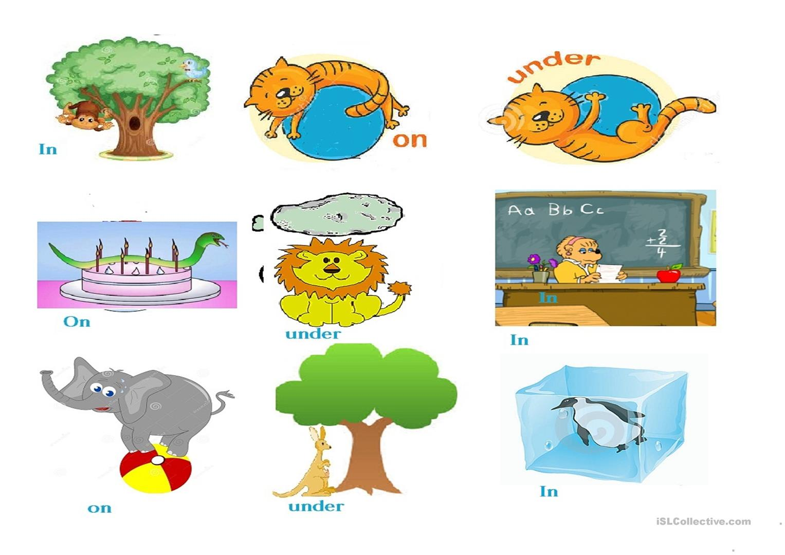 Animal Preposition Of Place Cards In On Under Worksheet