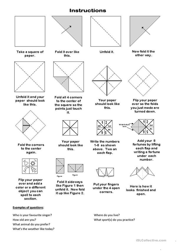 Fortune teller paper game (template) worksheet - Free ESL printable
