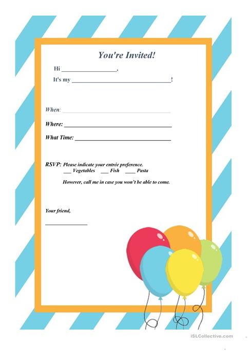 Invitation Letter Party worksheet - Free ESL printable worksheets