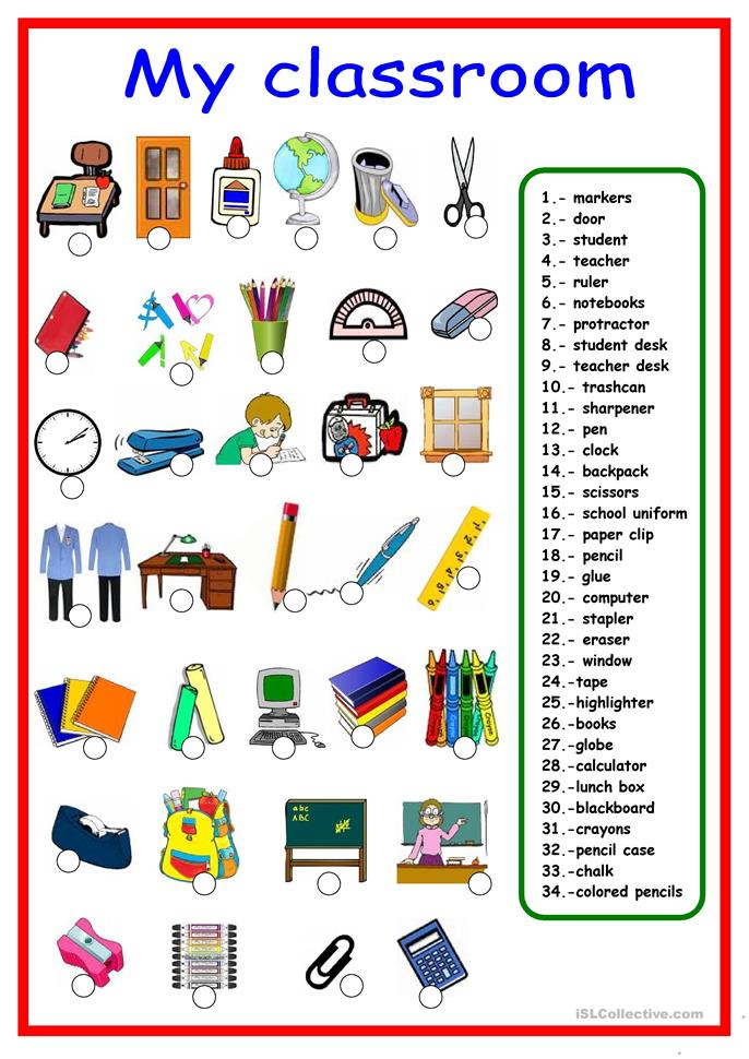 Utensilios De Cocina En Frances School Supplies Pictionary Worksheet - Free Esl Printable