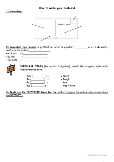 How to write a postcard (1) worksheet - Free ESL printable worksheets made by teachers