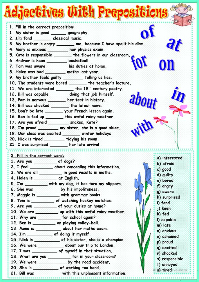 prepositions exercise