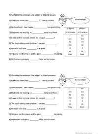 All Worksheets  Pronouns Subject And Object Worksheets