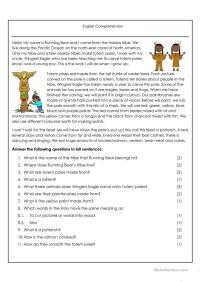 10 FREE ESL Native American worksheets
