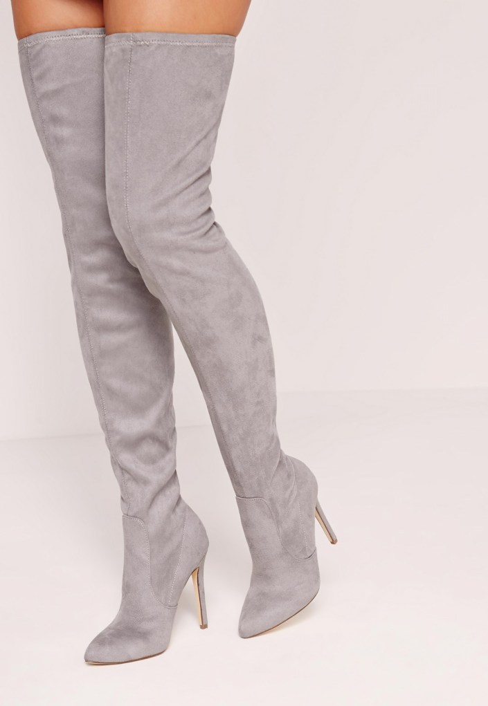 Gray suede over-the-knee shoes MissGuided