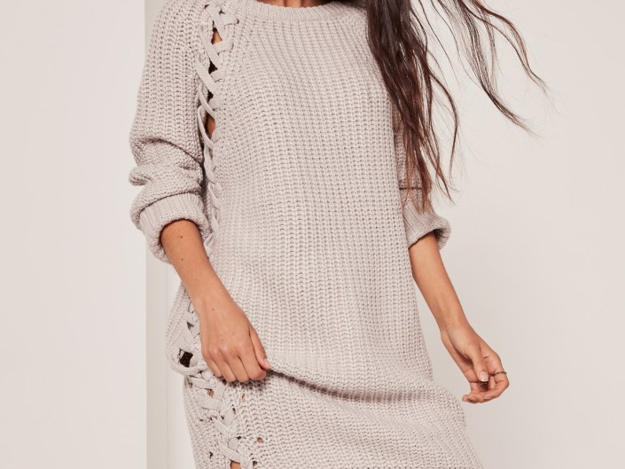 Gray knitted-dress with laces MissGuided