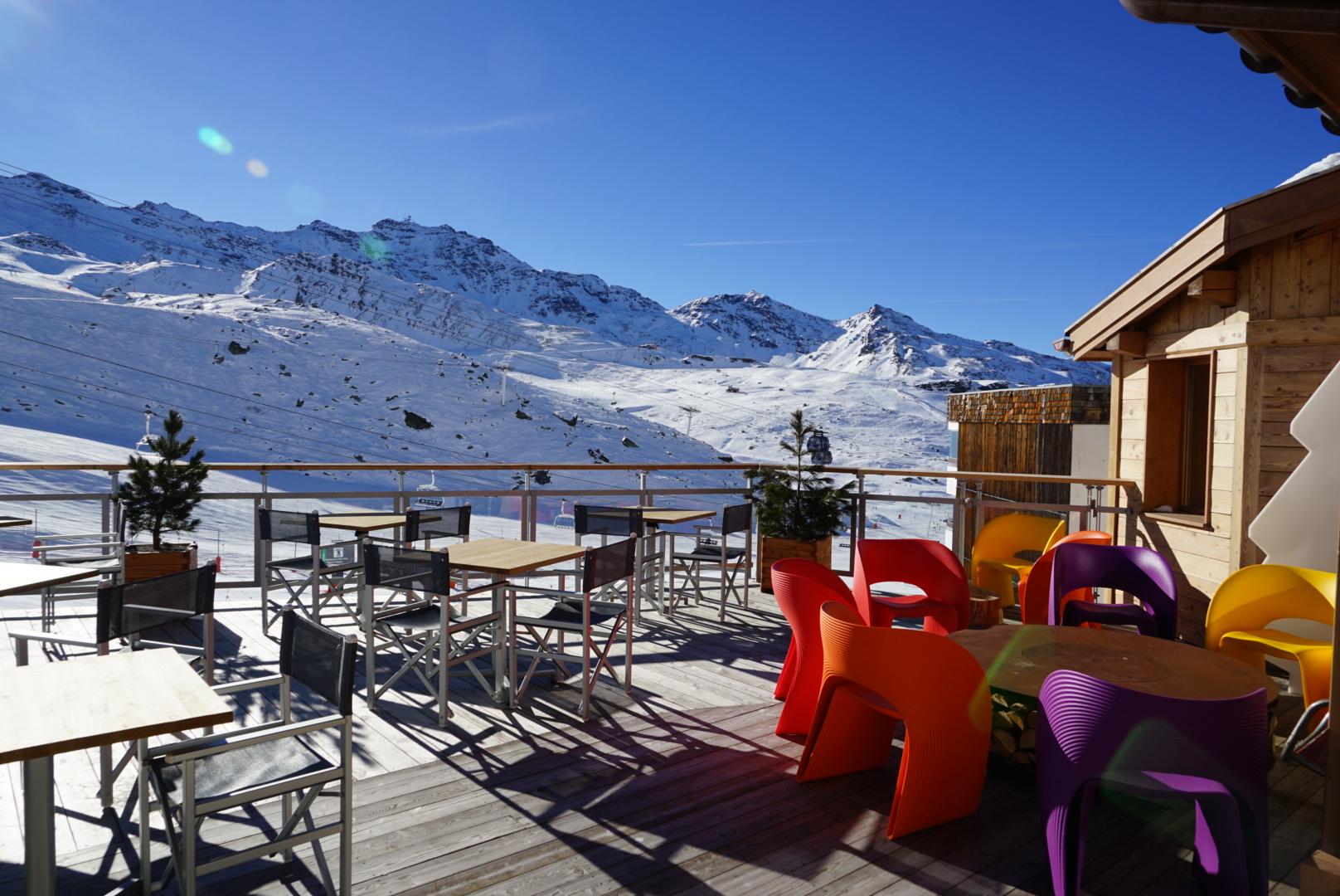 terrace, view, val thorens, pashmina, hotel, pashmina hotel, refuge, terrace, mountain, trip, holidays