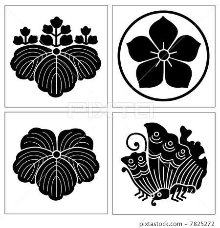 family crest, woman mon, thread loop bellflower - Stock Illustration - family mon