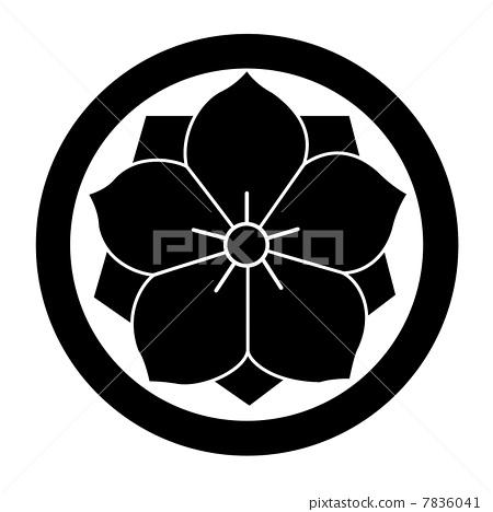 the yae to round bellflower, family crest, kikyo-mon - Stock - family mon