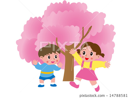 Cherry blossoms and children - Stock Illustration 14788581 - PIXTA