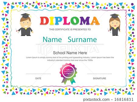 Preschool kids diploma certificate school template - Stock