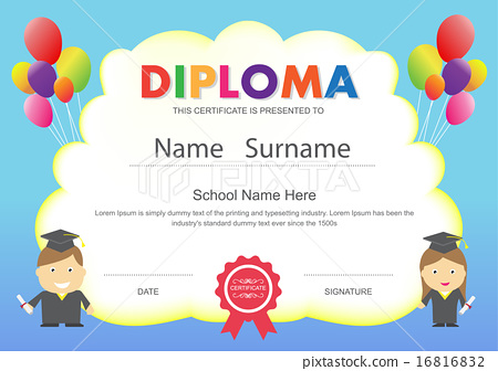 Preschool kids school diploma certificate template - Stock