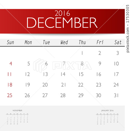 2016 calendar, monthly calendar template for December Vector il - december monthly calender