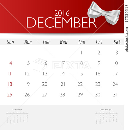 2016 calendar, monthly calendar template for December Vector il