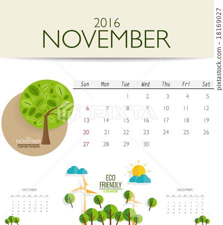 2016 calendar, monthly calendar template for November Vector il