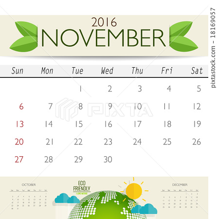 2016 calendar, monthly calendar template for November Vector il