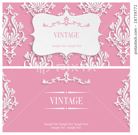 Vector Pink 3d Vintage Invitation Template - Stock Illustration - vintage invitation template