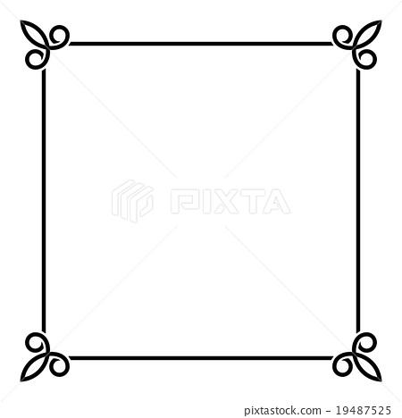 Black Border Vintage Frame on White Background - Stock Illustration