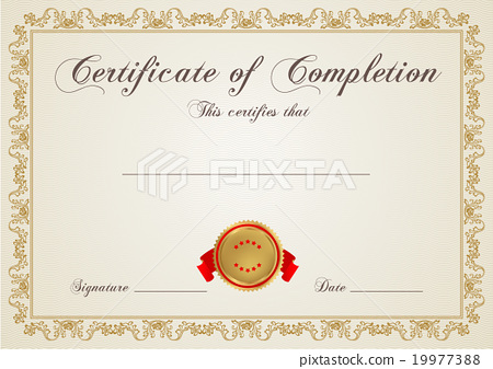 Certificate, Diploma of completion design template - Stock