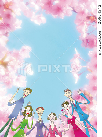 Welcome party of cherry blossom season - Stock Illustration