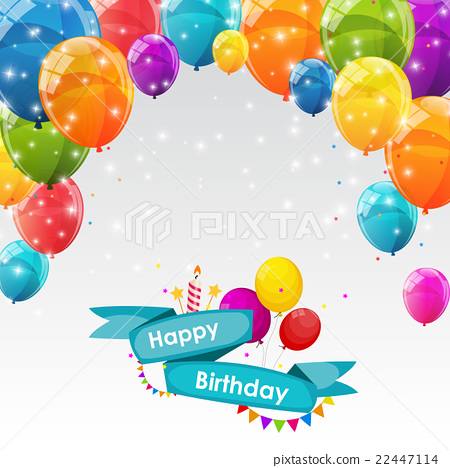 Happy Birthday Card Template with Balloons Vector - Stock - birthday card template