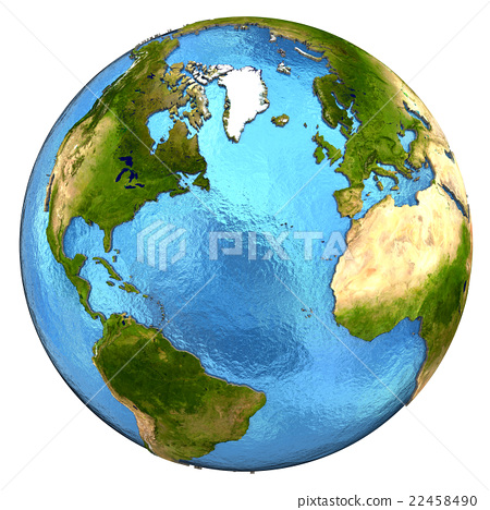North America and european continent on Earth - Stock Illustration
