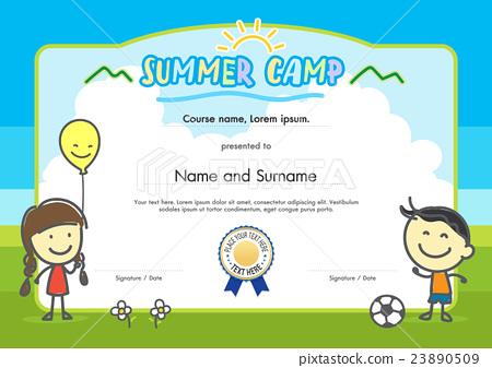 Kids summer camp certificate document template - Stock Illustration