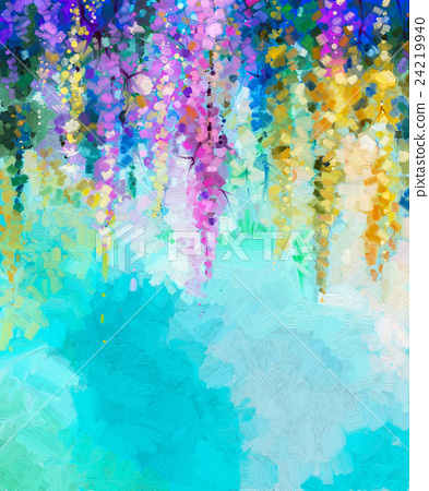 Abstract oil painting flower background - Stock Illustration
