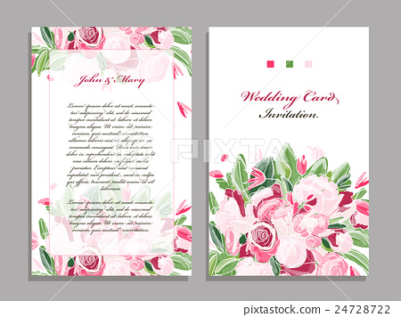 Wedding card template, floral design - Stock Illustration 24728722