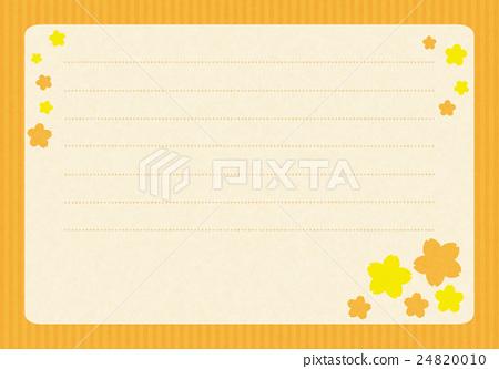 Stationery horizontal writing cherry orange - Stock Illustration