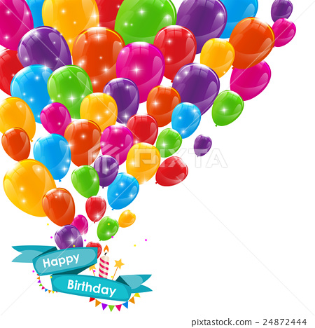 Happy Birthday Card Template with Balloons, Ribbon - Stock