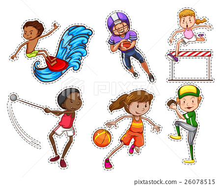 People doing different types of sports - Stock Illustration