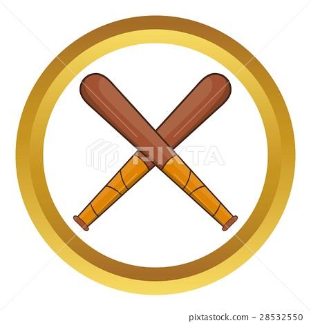 Crossed baseball bats vector icon - Stock Illustration 28532550