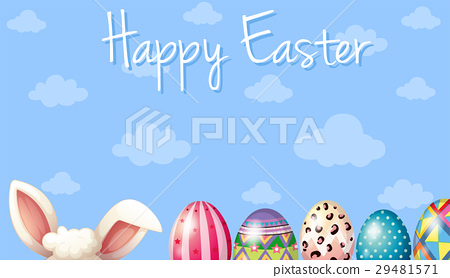 Happy Easter card template with bunny and eggs - Stock Illustration