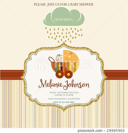 Lovely baby shower card template - Stock Illustration 29995902 - PIXTA