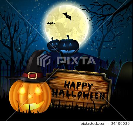 Halloween spooky background - Stock Illustration 34406039 - PIXTA