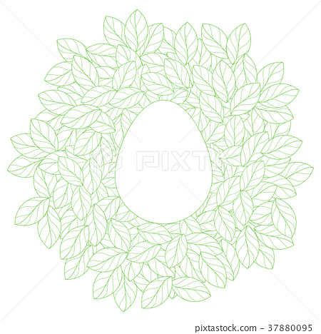 Easter card template with eggs in leaves nest - Stock Illustration