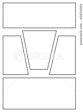 comic storyboard with five grid layout - Stock Illustration