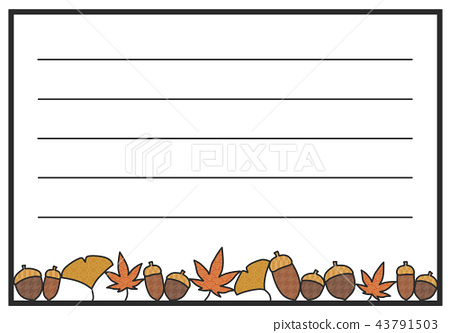 Japanese style autumn letter paper Autumn leaves and acorns