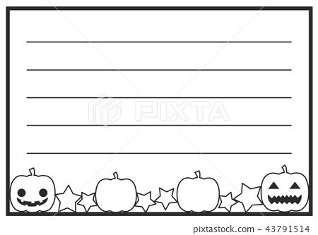 Japanese style autumn note paper Halloween horizontal writing