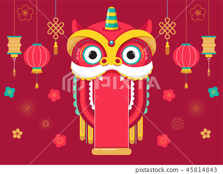 Chinese New Year background, greeting card with a lion dance, red