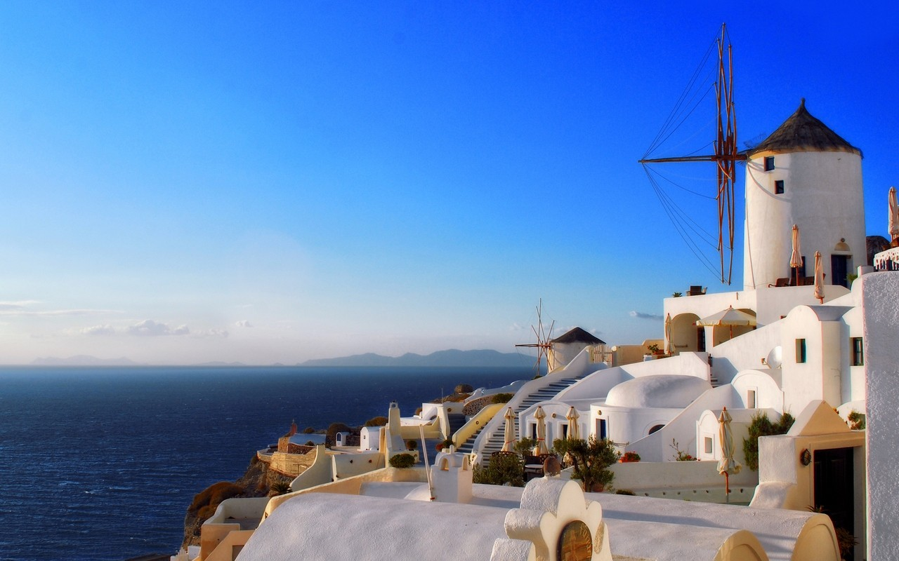 Hd Santorini Wallpaper Windmills The Stone Giants Of The Greek Land