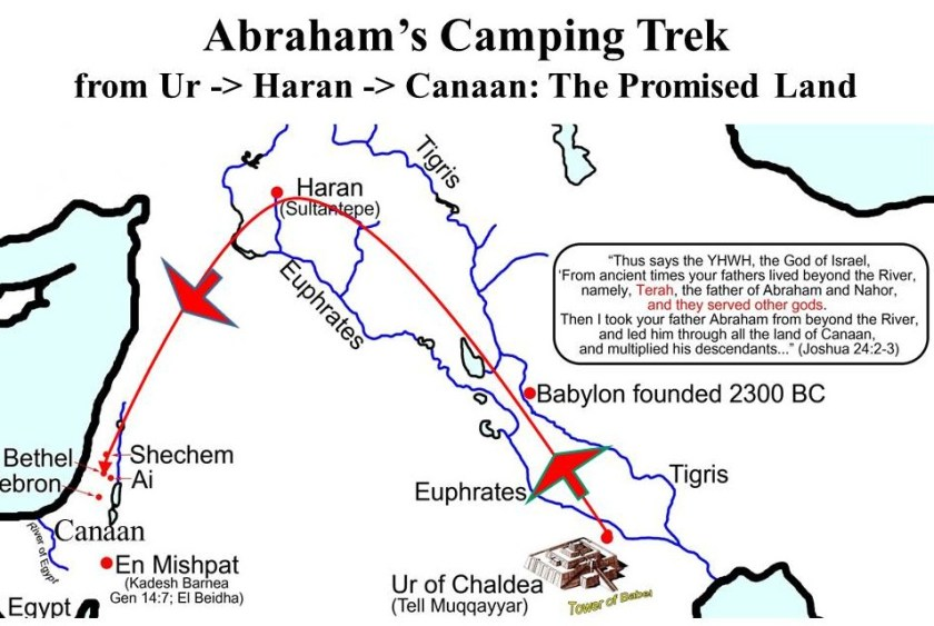 This map shows the route of Abraham's Journey